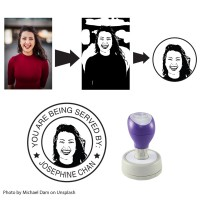 Customised Photo/Image Self-Inking Rubber Stamp (Round) - Assorted Size
