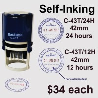 MaxStamp 42mm Self-Inking Dater Stamp in 12hrs/24hrs Format