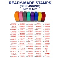 Ready-made 3cm x 1cm Self-Inking Rubber Stamp for Business / School Use (In RED Ink)