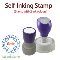 Customised  ø22mm ROUND Company Business Rubber Stamp (2 Colors)