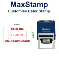 MaxStamp Self-Inking Flipping Dater Stamp - RECTANGLE 29mm x 49mm