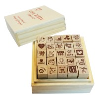 LOVE Diary Scrapbook Crafted Rubber Stamp Set Wooden Block Handle - 25 pieces