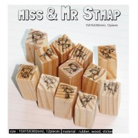 """Miss & Mr"" Diary Scrapbook Crafted Rubber Stamp Set Wooden Block Handle - 12 pieces"
