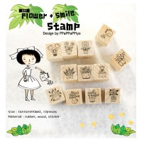 """Flower + Smile Series"" Diary Scrapbook Crafted Rubber Stamp Set Wooden Block Handle - 12 pieces"