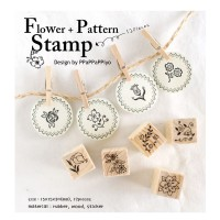 """Flower + Pattern Series"" Diary Scrapbook Crafted Rubber Stamp Set Wooden Block Handle - 12 pieces"