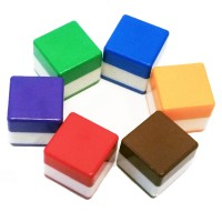 Set of 6 Pre-Ink Flash Cube Stamp 18mm x 18mm (SQUARE)