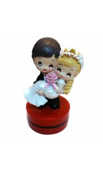 Wedding Couple  (Bride & Groom) Pre-Inked Stock Flash Rubber Stamp ø40mm  - ROUND